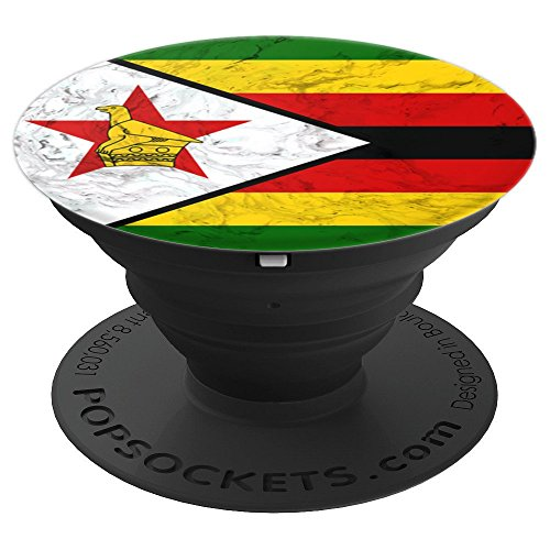 (Zimbabwe Flag over Marble Design - Zimbabwean Pride - PopSockets Grip and Stand for Phones and Tablets)