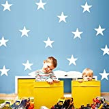 Amaonm® Set of 39 PCS 3-5cm Removable DIY Vinyl Cute Cartoon Stars Wall Decal Star Wall Stickers Murals Art Decor for Kids Babys Children Boys Girls Bedroom Ceiling Living Room Playroom (White) Picture