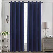 Aquazolax Solid Thermal Insulated Top Grommets Blackout Drape Curtains for Bedroom Windows, Navy Blue, 52 x 63 inch, 2 Panels