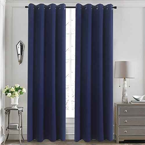 Drapery Panel (Grommet Blackout Curtains for Kids Room - Aquazolax Blackout Curtain Panels 52x84 Inch Thermal Insulated Decorative Drapery for Bedroom, 1 Piece, Navy Blue)