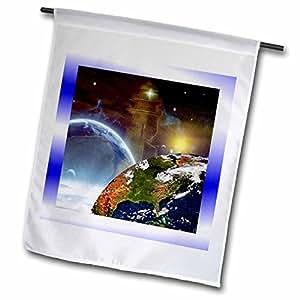 3dRose fl _ 18526_ 1bandera de Jardín, 12por 45,72cm, el Espacio Ultraterrestre límites