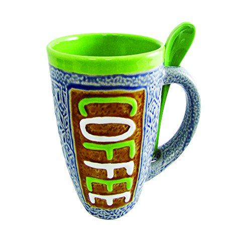 Mug - Large Coffee Mug 16 Ounce Glazed Ceramic with Spoon in Holder Novelty Coffee Mug and Tea Cup (Green)