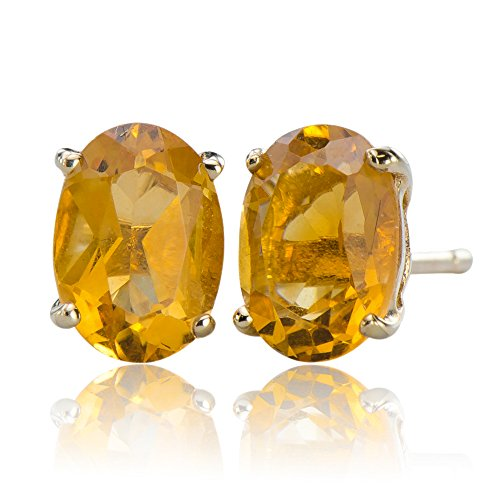 Exquisite Natural Citrine Gemstones 10K Gold 4.25 cttw Post Stud Earrings