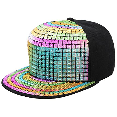 - Naimo Adjustable Metallic Baseball Snapback Cap Hip-Hop Hats Funky Dance Club Costume (Colorful)