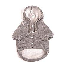 Dimart Comfortable Fleece Pet Dog Sweatshirt Warm Coat Puppy Hoodie Apparel Costumes Clothes-Grey, XS