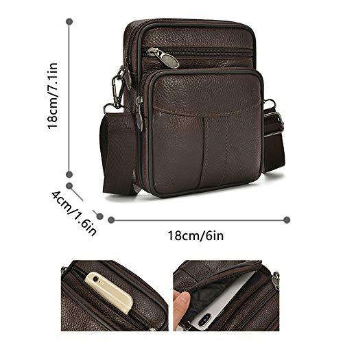 Pouch belt A Bag Bag Genuine Shoulder Case Holster Leather Crossbody Mens YqHfX