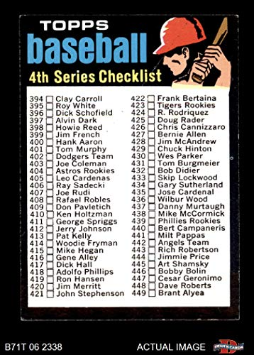 1971 Topps # 369 RED Checklist 4 (Baseball Card) (Black Line above Left Ear on a Red Helmet) Dean's Cards 5 - EX from Topps