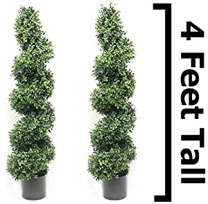 Boxwood Spiral Topiary Tree 4 Foot (2 Pack) Premium Heavy Duty Realistic Stem Artificial Plant Home Decor or Office Fake Tree by Silk Road Home
