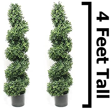 Boxwood Spiral Topiary Tree 4 Foot (2 Pack) Premium Heavy Duty Realistic  Stem Artificial