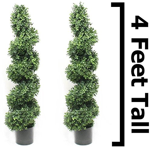 Boxwood Spiral Topiary Tree 4 Foot (2 Pack) Premium Heavy Duty Realistic Stem Artificial Plant Home Decor or Office Fake Tree by Silk Road Home by Silk Road Home