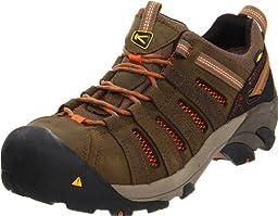 KEEN Utility Men\'s Flint Low Steel Toe Work Shoe,Shitake/Rust,8.5 D US
