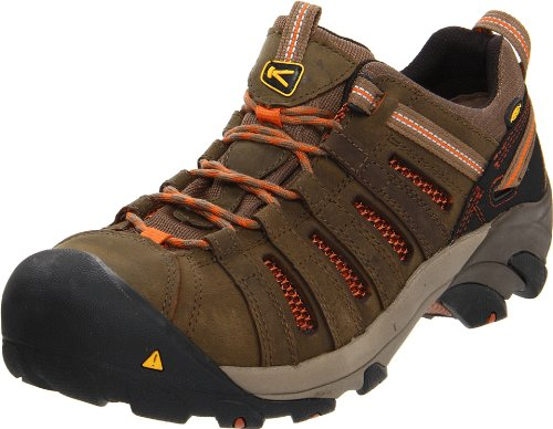 KEEN Utility Men's Flint Low Steel Toe Work Shoe, 10.5EE, Shitake Brown/Rust (Best Work Boots 2019)