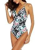 ADOMESwimwear Womens Monokini Floral Print Swimsuits One Piece Bathing Suits S-XXL