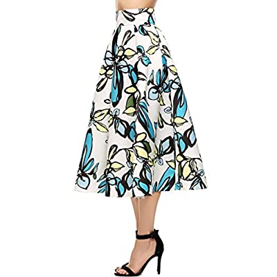 Zeagoo Womens Floral Print High Waisted Casual Aline Street Skirt Party Midi Skirt supplier
