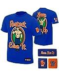 John Cena WWE Respect Earn It T-shirt Headband Wristbands Boys Juvy-YS (6-8)