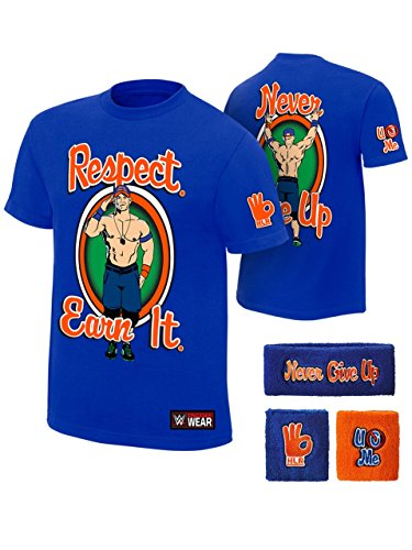 John Cena WWE Respect Earn It T-shirt Headband Wristbands Boys Juvy-YM (10-12) by Freeze