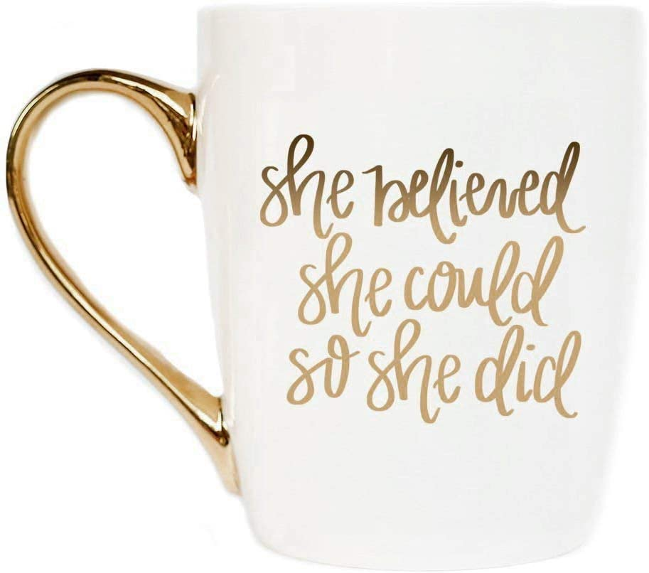 Sweet Water Decor Cute Coffee Mugs with Golden Handle | Girly Make Up & Mascara 16oz China Coffee Cup with Quote and Eyelashes | Embellished with Real Gold & Microwave Safe (She Believed She Could)