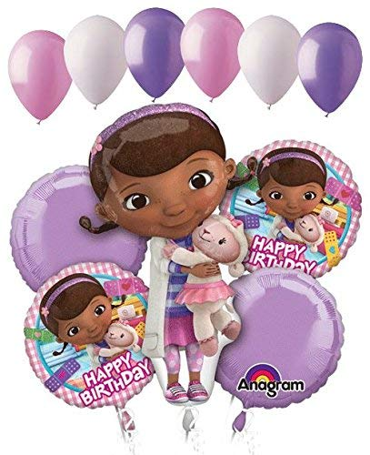 11 pc Doc Mcstuffins Happy Birthday Balloon Bouquet Party Disney Doctor Girl Vet]()