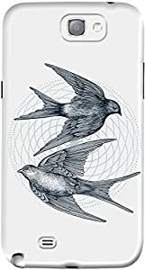 DailyObjects Circle Of Swallows Case For Samsung Galaxy Note 2 White/Cream