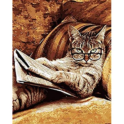 Jigsaw Puzzle 1000 Pieces Cat Pattern Reading Newspaper Home Decoration Wall Art: Toys & Games