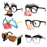 Ocean Line Funny Disguise Glasses, Groucho Marx Mustache Glasses, 6 Pairs Novelty Clown Costume Eyeglasses with Soft Nose for Halloween, Silly Eyebrows Party Favors for Adults and Kids