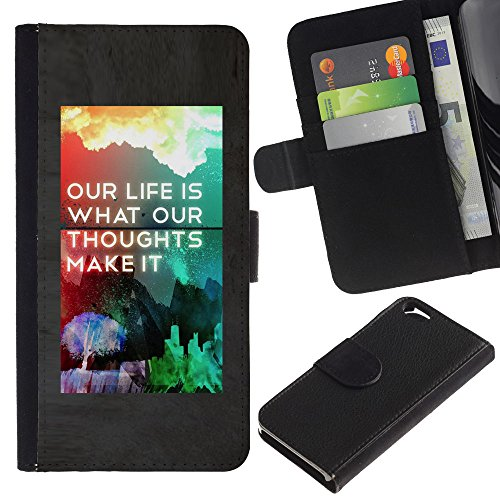 MobileMart / Apple Iphone 6 4.7 / life make it poster rainbow inspiring / Cuir PU Portefeuille Coverture Shell Armure Coque Coq Cas Etui Housse Case Cover Wallet Credit Card
