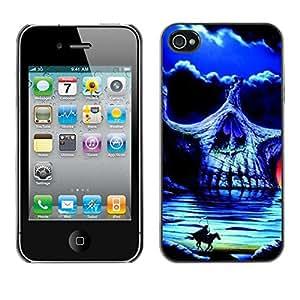 Eason Shop / Hard Slim Snap-On Case Cover Shell - Headless Horseman Skull Night Horse - For Apple Iphone 4 / 4S