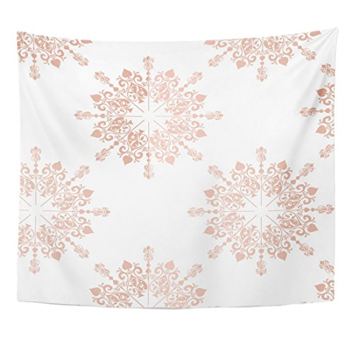 Emvency Tapestry Pink Blush Rose Gold Large Floral Lace Toile Pattern Home Decor Wall Hanging for Living Room Bedroom Dorm 50x60 inches
