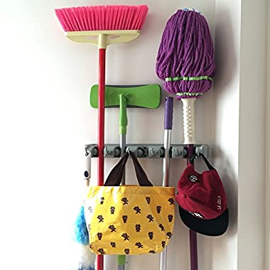 Champ Grip. The Revolutionary Mop Broom Holders with 5 Ball Slots and 6 Hooks. Items Guaranteed Non Slide. Life-time Guarantee.