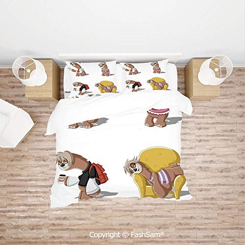(FashSam Duvet Cover 4 Pcs Comforter Cover Set Cartoon Lazy Sloths Family Father Mother Baby Resting Drinking Coffee Going to Work Decorative for Boys Grils Kids(Queen))
