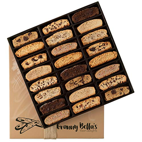 Fathers Day Granny Bella's Handmade Artisan Biscotti Gift Basket, 24 Gourmet Italian Cookies Non-GMO, Corporate Food Box Idea Christmas Holiday Cookie Baskets Valentines Birthday Thanksgiving Gifts]()