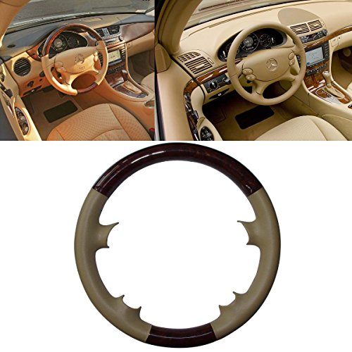Mercedes Wood Leather Steering Wheel (Tan Leather Brown Wood Steering Wheel Protector Cover Cap for Mercedes Benz 2003-2009 W209 CLK-Class CLK320 CLK500,R230 SL SL350 SL500 SL600,W219 CLS500 CLS550)