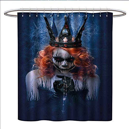 (Anniutwo Queen Shower Curtains Mildew Resistant Queen of Death Scary Body Art Halloween Evil Face Bizarre Make Up Zombie Satin Fabric Bathroom Washable W69 x L75 Navy Blue Orange)