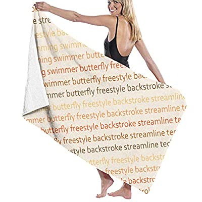 LXXYZ Swimming with Words Pool Lover Funny Prints Bath Towel Wrap Womens Spa Shower and Wrap Towels Swimming Bathrobe Cover Up for Ladies