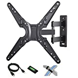 Full Motion Tilt-Swivel TV Wall Mount for 26'-52' Flat Screen TVs with 6' HDMI Cable, Cable Ties and Leveler