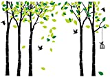 LUCKKYY Large Five Family Tree Wall Decals with Birds and Birdcage Wall Sticks Family Room Art Decoration (Five-Black)