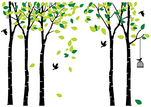 Art Cage Wall (LUCKKYY Large Five Family Tree Wall Decals with Birds and Birdcage Wall Sticks Family Room Art Decoration (Five-Black))