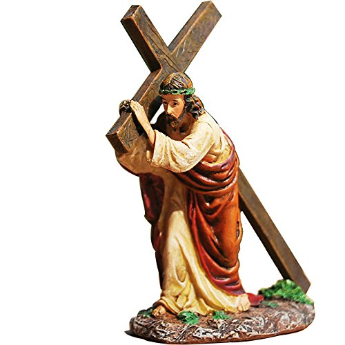 Handmade Resin Small Western Jesus Christ Carrying Cross Figurine Statue Sculpture for Gift/Home Decoration/Collection ()