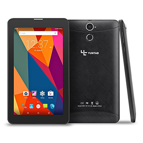 Yuntab E706 7 Inch Quad Core 1.3Ghz Google Android 6.0,Unlocked Smartphone Phablet Tablet PC,1G+8G,HD 600x1024,Dual Camera,IPS,WiFi,G-Sensor,Support SIM/MMC/TF Card(Black)
