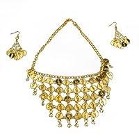 BellyLady Belly Dance Gypsy Jewelry, Collar y Aretes de Oro, Idea de regalo