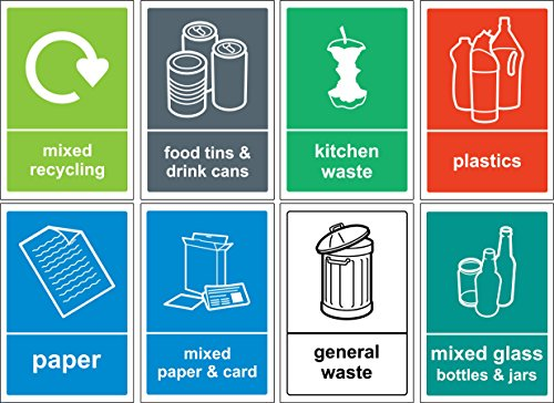 Recycling bin Sign / Sticker pack - Self adhesive vinyl Pack of 8 stickers 150mm x 100mm