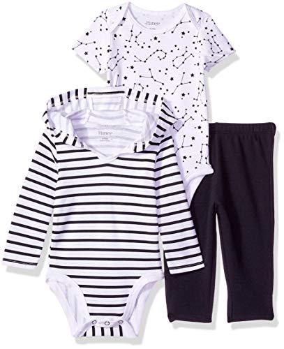 Hanes Ultimate Baby Zippin Pants, Short Sleeve Hoodie Bodysuit Set, Black Stripe, 0-6 Months ()
