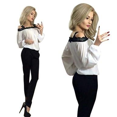 04d433a1499133 HGWXX7's Blouse Women's Off Shoulder Long Sleeve Loose Lace Stitching  Chiffon Blouse Tops T Shirt