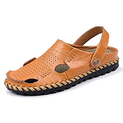 653b5eb2c9aaa Amazon.com: Xing Lin Leather Sandals Baotou Slippers Men'S Sandals ...