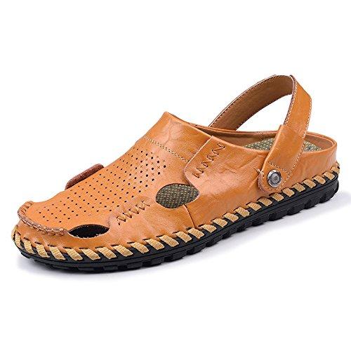 Xing Lin Sandalias De Cuero Baotou Zapatillas Para Hombres Sandalias De Verano Al Aire Libre Nueva Marea De Arena De Moda Calzado De Playa, Calzado Casual, Lleve Un Código Estándar, 41 Marrón Claro Q