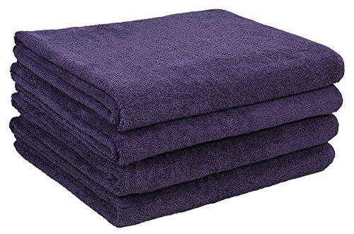 4 Collection Spa Home Piece (Home and Plan Quick Dry Premium 100% Turkish Cotton Bath Sheets   4-Piece Set, Decorative Oversized Bath Towels (30x60) - Plum (S9))