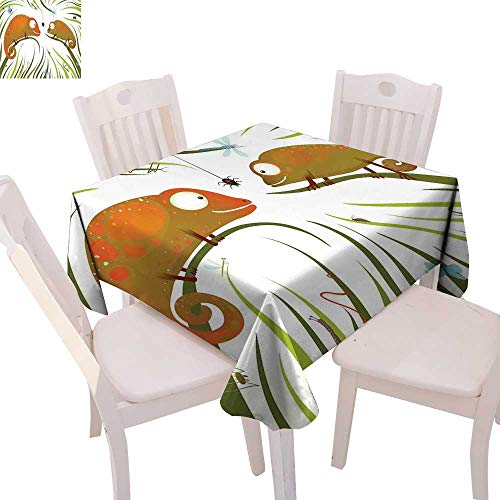 cobeDecor Chameleons Dinner Picnic Table Cloth Hungry Animals Grass Looking at Spider Insect World Illustration Worm Ladybug Waterproof Table Cover for Kitchen 36