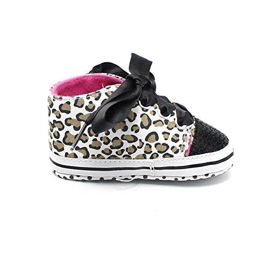 Luerme Zapato de Primer Paso Zapato deportivo de niñas Zapato de leoparto con lazo Cuatro estación Negro