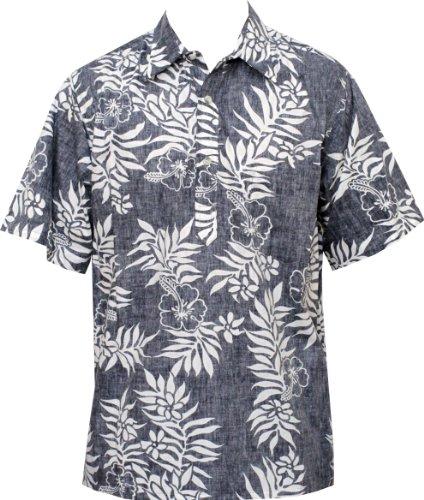 8c62b3ae0 Go Barefoot Mens Mini Tahitian Pullover Reverse Cotton Shirt White on Navy M