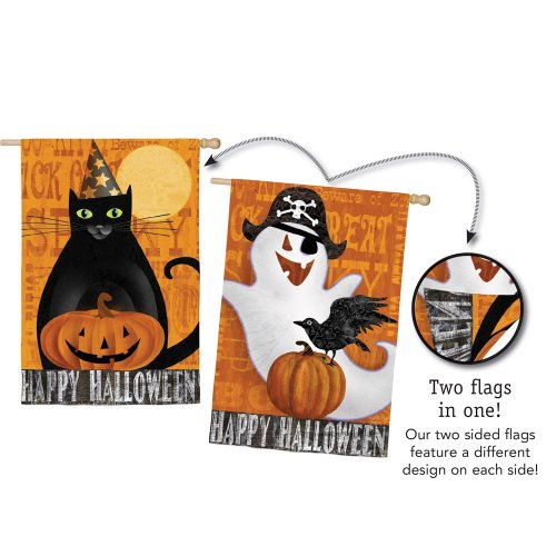 Halloween Night Ghost and Black Cat Two Sided House Flag